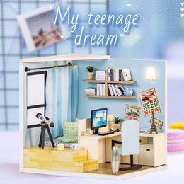 dollhouse lighting kits Canada - DIY Toy Doll House Miniature Wooden Puzzle Dollhouse kit with Furnitures Light Dust Cover Kids Birthday Gift Toys