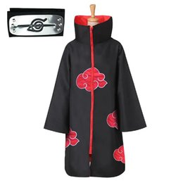 naruto games Australia - Anime Naruto Akatsuki Cosplay Costume Akatsuki Cloak Naruto Uchiha Itachi Cape Anime Party Halloween Costume
