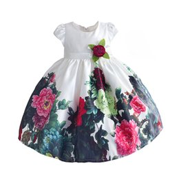 school shorts girls UK - Summer Toddler Girl Dress For Little Girl School Wear Floral Print Children Wedding Clothing For Party Holiday 2-7T T200709