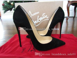 Wholesale slip dress women for sale – plus size New Stiletto Heel Suede Black Blue Red Leather Poined Toe Women Pumps Fashion lRed Bottom High Heels Dress Shoes Wedding shoes cm cm cm