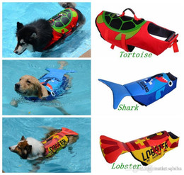 shark swim Australia - Kwaii Life Jackets for Dogs Lobster Tortoise Shark Preserver Puppy Safety Clothes Boating Sailing Swimming Surfing Vest Beach Pet Supplies