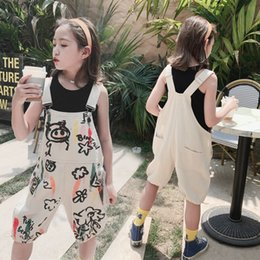painting tights NZ - gnpeS Children's wear 2020 New Girl's belt painting watercolor painting 5 cartoon graffiti belt pants Korean watercolor printing Capri pants