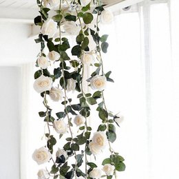wholesale artificial rose leaf Canada - 180cm Artificial Rose Flower Vine Wedding Decorative Real Touch Silk Flowers With Green Leaves for Home Hanging Garland Decor wh e44M#