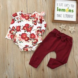 boys ruffle top UK - romper top floral pants ruffle 2pcs Baby girl boy clothes Long Sleeve Ruffle Flower romper jumpsuit+Bowknot Pants baby Outfit