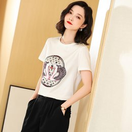 shirt korean designs UK - edHKt Short Sleeve loose mulberry silk small Western style T- Top shirtT-shirt shirt women's 2020 new summer Korean style design niche white