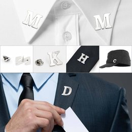 tie pin shirts Australia - A-Z 26 English Letter Pin Brooch Suit Buckle for Men Women Alloy Simple Party Wedding Shirt Collar Pins Tie Hat Decoration Gift