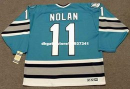 cheap shark UK - Wholesale Mens OWEN NOLAN San Jose Sharks 1996 CCM Vintage Cheap Retro Hockey Jersey