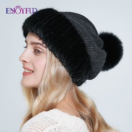 real fur hat cap 2020 - ENJOYFUR winter wool and real hats for women warm fleece lining knitted cap fashion fur pompom thick female fur beanies