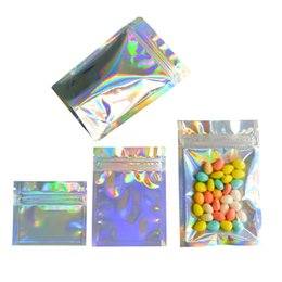 zipper plastic retail bag package packing UK - Laser Color Clear Plastic Bag Mylar Aluminum Foil Zipper Bag Packing Bag Retail Package Jewelry Food Packing Bags Resealable Mylar Bags