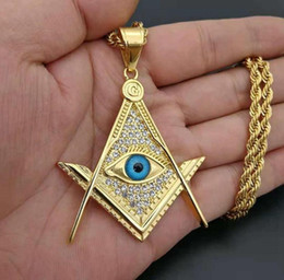 stainless steel masonic pendants 2020 - Stainless Steel Men Hip hop masons pendant necklaces with Rhinestone fashion blue eye Masonic necklace mens Hiphop jewel