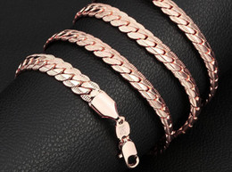 womens gold plated chains NZ - 6 mm*18-32 inch Luxury mens womens Jewelry 18KGP Rose Gold plated chain necklace for men women chains Necklaces accessories hip hop