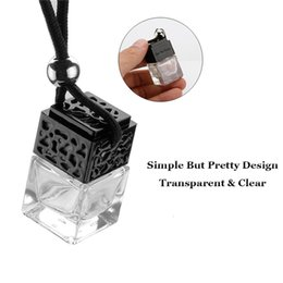 Ingrosso 8ML Purificatore d'ambiente Hanging Bottiglia auto Profumo Per oli essenziali Diffusore Specchio retrovisore ornamento vetro vuoto Bottiglia auto-styling