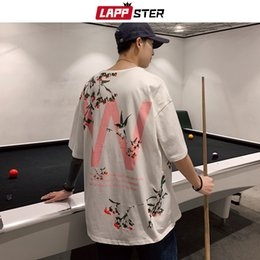 mens oversized clothing Australia - LAPPSTER Men Cherry Blossoms Print Tees 2020 Summer Tshirts Mens Harajuku T Shirts Male Oversized Blakc Korean Clothes 5XL