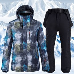 mens ski suits Canada - Mens Winter Ski Suit Waterproof Windproof Thicken Warm Skiing Jacket And Snow Pants Suit Male Snowboarding Parkas Coat CYF214