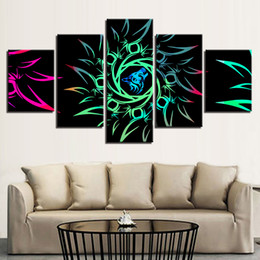 painting green Australia - Modern Decor Home Living Room Modular Painting Poster Wall Art 5 Pieces HD Printing Abstract Green Flowers Canvas Pictures Frame