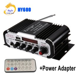 amplifier speakers Canada - HY600 Mini Amplifier Car Amplifier 20W+20W FM Audio MIC MP3 Speaker Stereo Amplifier for Motorcycle Car Home use With power adapter