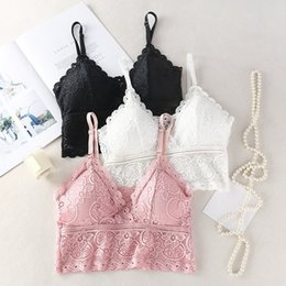 camisole femme 2021 - Women Camisole Sexy Lace Tube Top Vest Camisole Female Crop Top Wire Free Lingerie Femme Embroidery Floral Solid