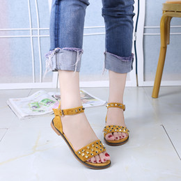 china black sandals UK - YMECHIC 2020 Ladies Cheap Summer Shoes China Sweet Rivets Flat Heel Sandals Womens Yellow Black Gray Girl Casual Sandal Flats