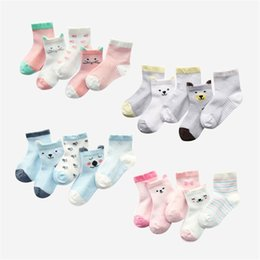 boys toddlers socks UK - 5Pairs lot Toddler Baby Socks Newborn Cotton Girls Boys Striped Cartoon Infant Socks for Girls Summer Style Mesh Baby Set