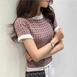 Wholesale knitted crochet summer sweaters for sale - Group buy 2020 Summer Korean Vintage Elegant knitted sweater woman T shirts Tees Women Short Sleeve O neck Fashion Ladies Slim T Shirts Tops Femme