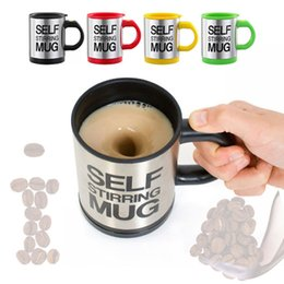 stainless steel self stirring mug Canada - Self Stirring Coffee Mugs stainless steel bottle Portable Coffee Cups mug With Lid lazy Electric Coffee Mixer Auto Mixing Tea Milk Drinkware