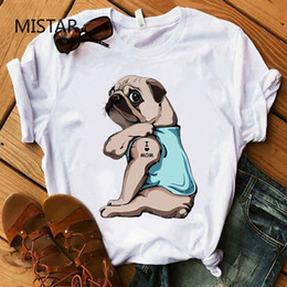 Wholesale t i shirt online – design Pug I Love Mom Printing Funny T Shirt Women Casual White Tops Harajuku Dog T shirt Short Sleeve Graphic Tee Women Clothes