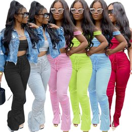 Wholesale sexy birthday outfits resale online - Summer Women Two Piece Outfits Sexy Club Festival Clothing Striped Crop Top And Flare Pants Birthday Matching Suit Piece Set