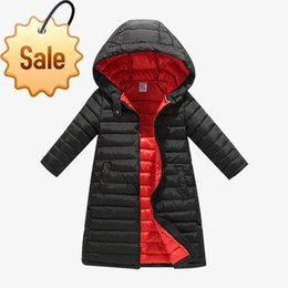 hooded parka overcoat long NZ - BOTEZAI Girls Down Jackets Children Autumn Winter Coat Clothing Kids Hooded Thin Cotton Padded Jacket Parka Long Overcoat