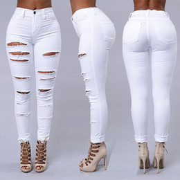 Wholesale tight female jeans resale online - Tight Sexy White Jeans Female Feet Pants Fashion Casual Trousers Hole Summer New Large Size Women s Clothing Women s Jeans