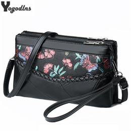 flower cell phone pouches NZ - Soft PU Leather Messenger Bags for Women Pouch Bag Mother Lady Flower Prints Retro Designer Single Shoulder Purse Sling Bag