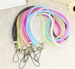 phone chain color Australia - New mobile phone lanyard strap Fishing net Bling crystal luxury diamond Candy color hanging neck rope telephone belt hang chain Bracele