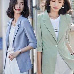 fitted suits for women Canada - 5ubbg Internet celebrity small suit jacket jacket for Women 2020 spring and summer new Korean style thin slim fit seven-quarter sleeve casua