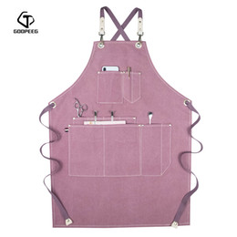 custom aprons Australia - GOOPEEG summer canvas work apron denim Korean version hairdressing hairdresser floral barista custom LOGO waist T200619