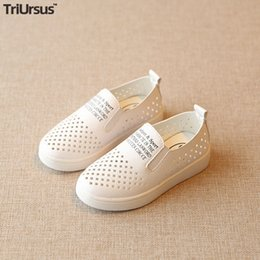Discount cute heels kids Kids Sandals PU Leather White Shoes 2020 Summer Cute Children Holed Casual Shoes Elastic Band Toddler Boys Girls Flat He