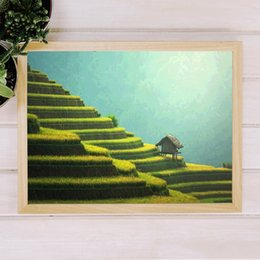 asian wall art paintings Canada - Rice Terrace Landscape Photography Poster Rice Field Art Print Bali Asian Wall Art Canvas Painting Rural Wall Picture Home Decor