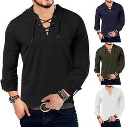 men short sleeve henley t shirt Canada - New Fashion Men's Hooded Tee Long Sleeve Cotton Henley T-Shirt Medieval Lace Up V Neck Outdoor Tee Tops Loose Casual Solid Shirt