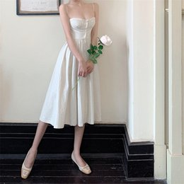 french lines Canada - French Slim Strap Dress Summer High Waist Retro Midi Skirt Sleeveless off-Neck A- line Dress Fairy