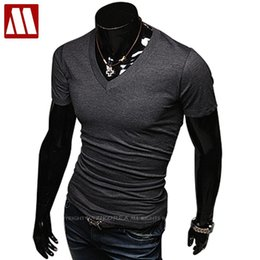 men s short sleeve t shirts Australia - 2020 New style Fashion Summer Tops mens t shirt short sleeve V neck t shirts men fitness brand undershirt 20 color Asia S-XXXXXL MX200611