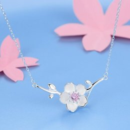 cherry blossom gifts UK - SMJEL 2020 New Fashion Blossom Cherry Flower Necklace women Flower Necklaces Pendants Vintage Accessories Necklaces Party Gifts