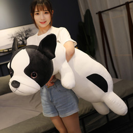 cartoon sleeping children Australia - cute anime puppy plush toy simulation animal bulldog doll dog bed sleeping pillow for children gift decoration 47inch 120cm DY50890