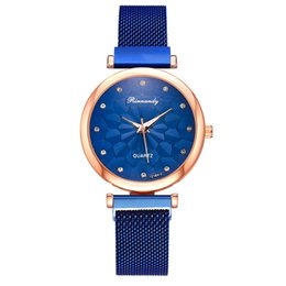 popular glass metal UK - new trend flower pattern alloy metal watch women ladies female popular mesh Magnetic bands stones crystal dress quartz watches