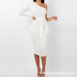 Wholesale pleated irregular dresses long sleeve resale online – White Party Dresses Skinny Off Shoulder Pleated Womens Designer Summer Dresses Long Sleeve Irregular Casual Womens Bodycon Dresses