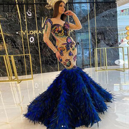 fashion trend evening 2020 - Flower Lace Applique Feather Prom Dresses 2020 New Trends Mermaid Long Sleeve Sweetheart Evening Gowns Floor Length chea