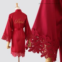 Wholesale lingerie bride resale online - RED Bride Bridesmaid Wedding Robe Sexy Lace Kimono Gown Satin Women Sleepwear Female Intimate Lingerie Loose Home Wear