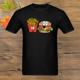 french print fabric NZ - Burger French Fries Tshirts Street T-Shirt Men Funny T Shirt Black Top Quality Summer Tees Clothes Fabric Print Cartoon Cotton