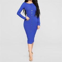 woman dress winter buttons NZ - Pencil Dresses Woman Fashion Casual Clothes Womens Sexy Solid Slim Dress Women Autumn Winter Button O-neck Mid Waist