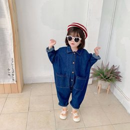 Wholesale 80 lower online – design INS Korean Style Infant Boys Girls Cartoon Printed Long Sleeve Denim Bodysuits Years Kids Loose Casual Jumpsuits