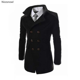 double collar jackets for men 2020 - New English Style Jackets For Men Autumn Winter Mandarin Collar Wool Blend Double Breasted Coat Thick Overcoats discount