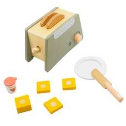 kids wooden toy kitchen UK - Wooden Baby Toys Toaster for Kids and Children Kitchens and Play Food Pretend Play and Dress-up