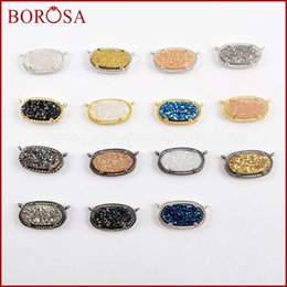 color stone charms Australia - BOROSA 10PCS Oval Rainbow Titanium Druzy Connectors Jewelry, Gold Silver Black Color Drusy Double Charms for Necklace DIY WX999